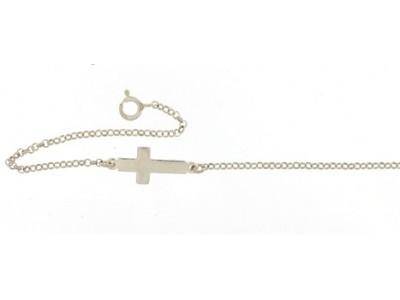 Сребърна гривна – кръст за бебе и включено гравиране