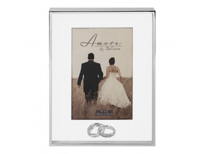 Amore сватбена фоторамка със сребърно покритие 10х15 см