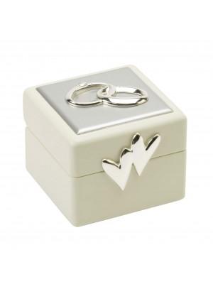 Кутийка за сватбени пръстени със сребърно покритие