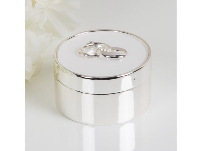 Аморе кутийка за сватбени пръстени със сребърно покритие