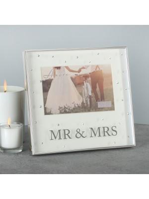 """Фоторамка със сребърно покритие """"Mr & Mrs""""  6""""х4"""" (10х15см)"""