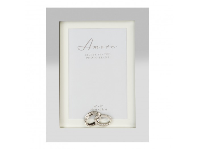 """Прекрасна сватбена фоторамка със сребърно покритие 4 """"х 6"""" (10x15 см)"""