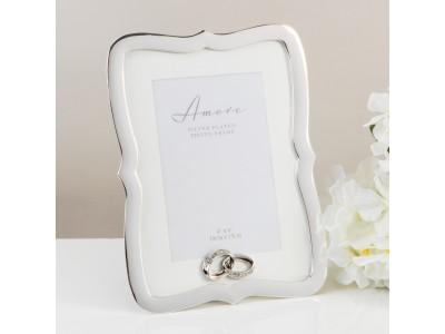 """Amore прекрасна сватбена фоторамка със сребърно покритие 4 """"х 6"""" (10x15 см)"""
