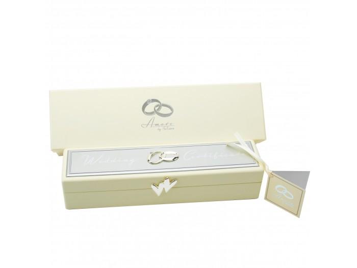 Amore кутия за сватбен сертификат със сребърно покритие